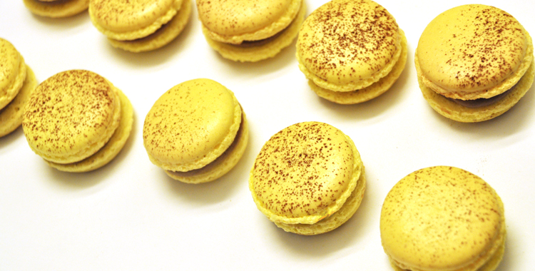 Passion fruit and milk chocolate macarons